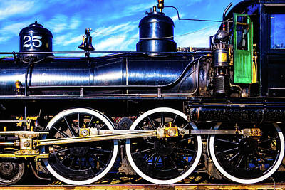 Photograph - Large Train Wheels by Garry Gay