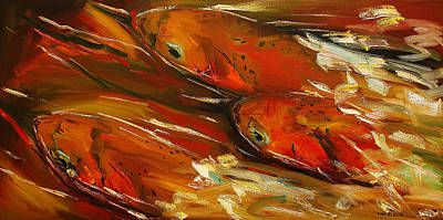 Trout Painting - Large Trout Stream Fly Fish by Diane Whitehead