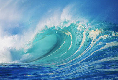 Silver Turquoise Photograph - Large Wave Curling by Ron Dahlquist - Printscapes