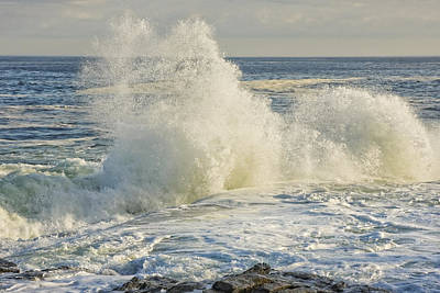 Photograph - Large Waves On Rocky The Coast Of Maine by Keith Webber Jr