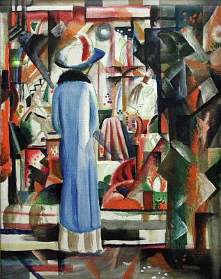 Streetscape Painting - Large, Well-lit Shop Window by August Macke