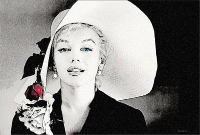 Drawing - Large White Hat -marilyn Monroe  - Sketch by Ericamaxine Price