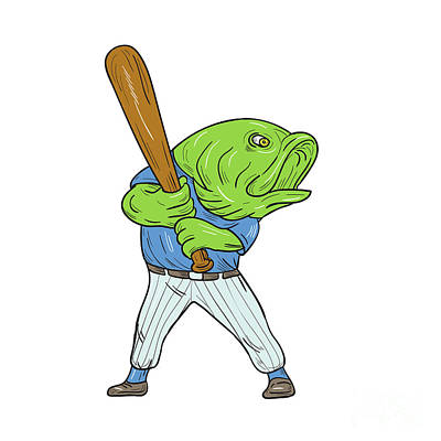 Largemouth Digital Art - Largemouth Bass Baseball Player Batting Cartoon by Aloysius Patrimonio