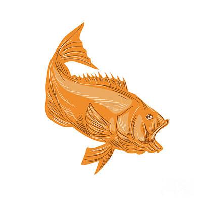 Largemouth Digital Art - Largemouth Bass Diving Drawing by Aloysius Patrimonio
