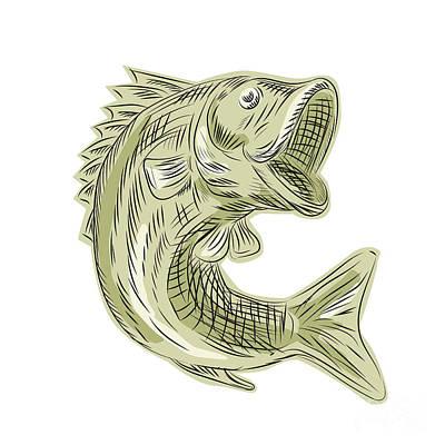 Largemouth Digital Art - Largemouth Bass Fish Etching by Aloysius Patrimonio