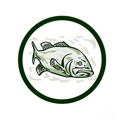 Largemouth Digital Art - Largemouth Bass Fish Front Side Circle Cartoon by Aloysius Patrimonio