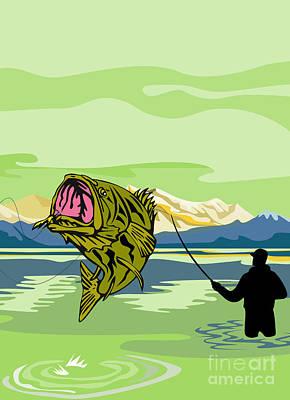 Largemouth Bass Fish Jumping Art Print by Aloysius Patrimonio