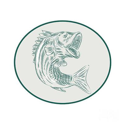 Largemouth Digital Art - Largemouth Bass Fish Oval Etching by Aloysius Patrimonio