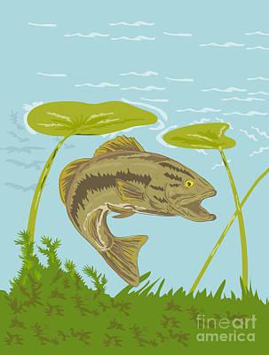 Largemouth Digital Art - Largemouth Bass Fish Swimming Underwater  by Aloysius Patrimonio