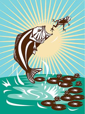 Largemouth Bass Jumping Catching Frog  Print by Aloysius Patrimonio