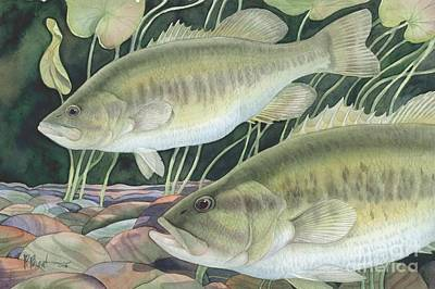 Largemouth Painting - Largemouth Bass by Paul Brent