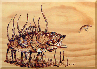 Pyrography - Largemouth Bass by Ron Haist