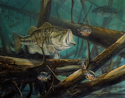 Largemouth Painting - Largemouth Bass by Scott Thompson