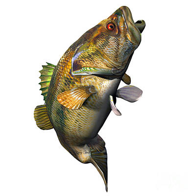 Largemouth Painting - Largemouth Bass Strike by Corey Ford