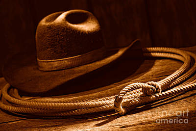 Cowboy Hat Photograph - Lariat And Hat - Sepia by Olivier Le Queinec