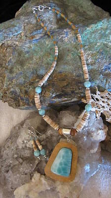 Jewelry - Larimar Set In Gourd Wood by Barbara Prestridge