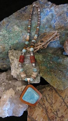 Jewelry - Larimar Set In Gourd Wood #ff49 by Barbara Prestridge