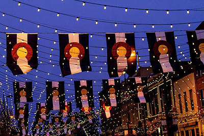 Photograph - Larimer Square Denver With Colorado Flags by Teri Virbickis