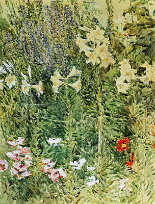 Impressionistic Still Life Painting - Larkspurs And Lillies, 1893 by Childe Hassam