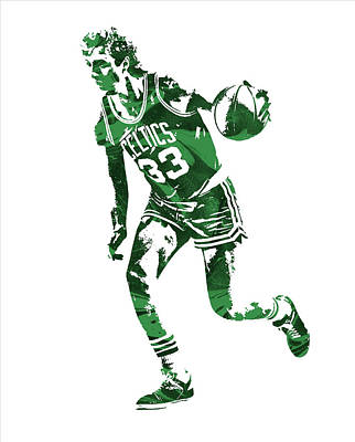 Larry Bird Wall Art - Mixed Media - Larry Bird Boston Celtics Pixel Art 10 by Joe Hamilton