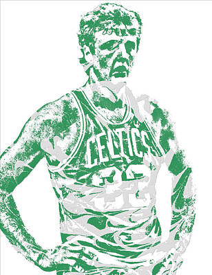 Larry Bird Wall Art - Mixed Media - Larry Bird Boston Celtics Pixel Art 6 by Joe Hamilton