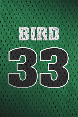 Closeup Mixed Media - Larry Bird Boston Celtics Retro Vintage Jersey Closeup Graphic Design by Design Turnpike