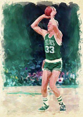 Athletes Digital Art - Larry Bird Paint by Ricky Barnard