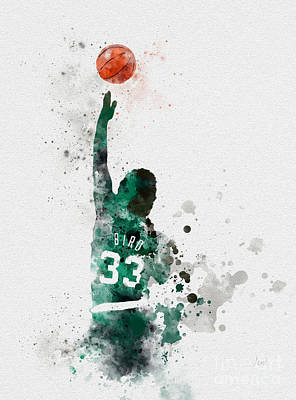 Sports Mixed Media - Larry Bird by Rebecca Jenkins