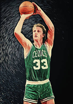 Nba Digital Art - Larry Bird by Taylan Apukovska