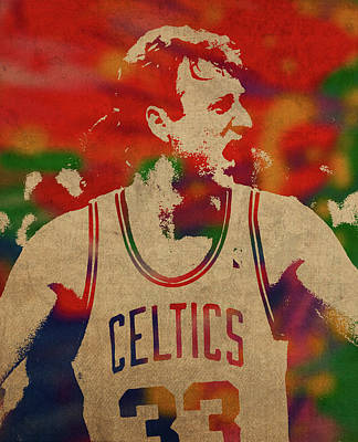 Larry Bird Wall Art - Mixed Media - Larry Bird Watercolor Portrait by Design Turnpike