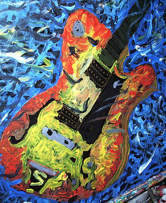 Painting - Larry Carlton Guitar by Neal Barbosa