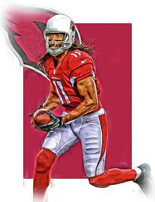 Nfl Mixed Media - Larry Fitzgerald Arizona Cardinals Oil Art by Joe Hamilton