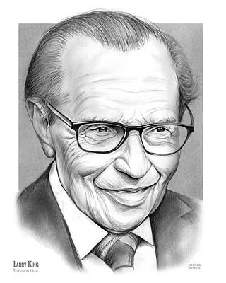 Television Drawing - Larry King by Greg Joens