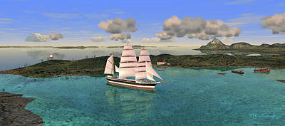 Digital Art - Larry Paine Clippership In The Panama Area by Duane McCullough