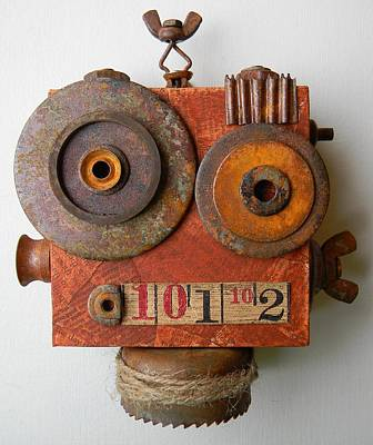 Mixed Media - Larry The Robot by Jen Hardwick