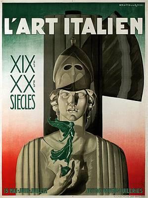 Mixed Media - L'art Italien - Marble Sculpture - Retro Travel Poster - Vintage Poster by Studio Grafiikka