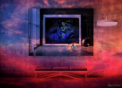 Digital Art - L'artiste Et La Banquette by Karo Evans
