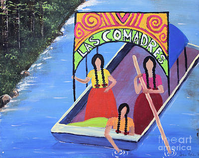 Chicano Art Mixed Media - Las Comadres En Xochimilco by Sonia Flores Ruiz