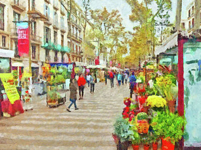 Digital Art - Las Ramblas In Barcelona by Digital Photographic Arts