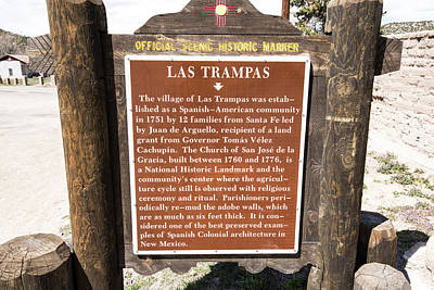 Photograph - Las Trampas Historic Marker by Tom Cochran