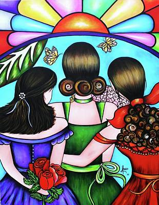 Painting - Las Tres Rosas by Annie Maxwell