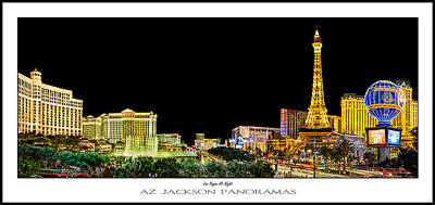 Paris Skyline Photograph - Las Vegas At Night Poster Print by Az Jackson