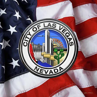 Digital Art - Las Vegas City Seal Over American Flag by Serge Averbukh
