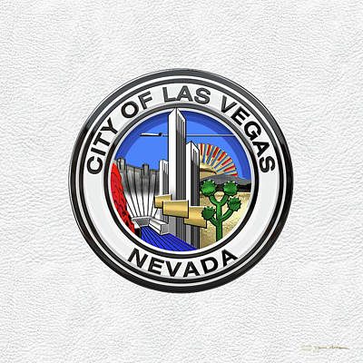 Digital Art - Las Vegas City Seal Over White Leather  by Serge Averbukh