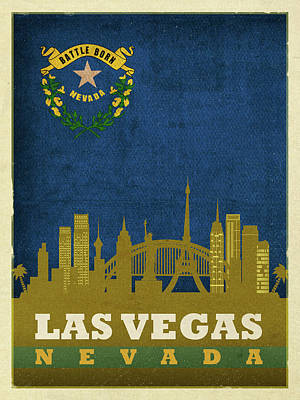 Skyline Mixed Media - Las Vegas City Skyline State Flag Of Nevada Art Poster Series 018 by Design Turnpike