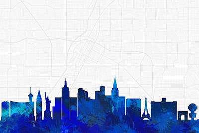 Splatter Digital Art - Las Vegas Cityscape And Streetmap Blue Skyline by Jurq Studio