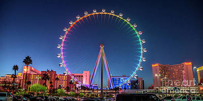 Photograph - Las Vegas High Roller At Dusk Rainbow Colors Wide by Aloha Art