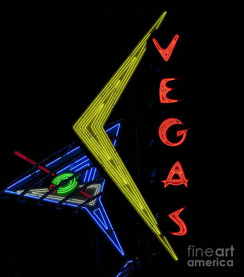 Martini Painting Royalty Free Images - Las Vegas Neon Sign Royalty-Free Image by Mindy Sommers