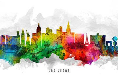 Las Vegas Nevada Cityscape 12 Art Print by Aged Pixel