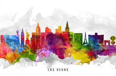 Las Vegas Nevada Cityscape 13 Print by Aged Pixel